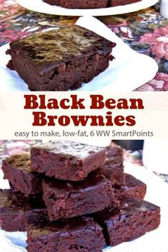 Low-fat, rich and fudgy black bean chocolate brownies that are as quick and easy as they are delicious with only 139 calories and 6 Weight Watchers Freestyle SmartPoints! Low Fat Brownies, Black Bean Brownies, Chocolate Fudge Brownies, Chocolate Desserts, Skinny Brownies, Low Calorie Brownies, Healthy Brownies, Healthy Treats, Healthy Food