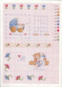 Baberos y bolsitas merienda a punto de cruz (pág. 9) | Aprender manualidades es facilisimo.com Cross Stitch Art, Cross Stitch Flowers, Stitch 2, Couture, Mini, Kids Rugs, Embroidery, Crochet, Crafts