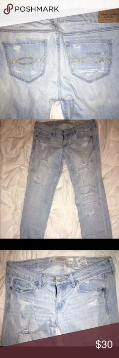 Abercrombie light rinse destroyed skinny jeans Abercrombie. Light rinse destroyed skinny jeans. No extra holes or stains. Only worn once! Destroyed holes and strings still intact. Bundle to save 20% 💕 Abercrombie & Fitch Jeans Skinny