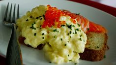 Breakfast dishes. Scrambled eggs with dill and salmon caviar. Luke Mangan. SMH GOOD LIVING picture by Marco Del Grande 150104 SPECIALX 00000