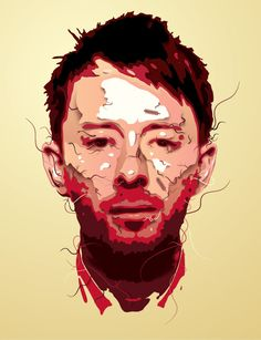 """Thom Yorke"" vector Illustration by blindSALIDA {contemporary male head man face portrait drawing} <3 http://blindsalida.fr/blindsalida.php/category/highlights"