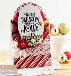 Christmas Card Making Ideas by Becca Feeken using Waltzingmouse 'Tis the Season and Spellbinders