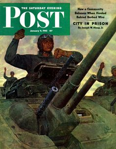 """""""Tank Attack"""" by Mead Schaeffer. Issue: January 9, 1943. © SEPS"""