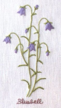 DESIGN: Bluebell. Floral Embroidery Patterns, Embroidery Stitches Tutorial, Simple Embroidery, Silk Ribbon Embroidery, Hand Embroidery Designs, Vintage Embroidery, Embroidery Techniques, Cross Stitch Embroidery, Hand Sewing Projects