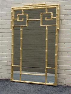 gold wash faux bamboo oriental style mirror