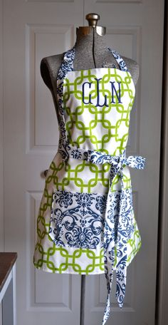 Full Apron - MADE TO ORDER - Mix and Match - You pick the fabric - Chevron - Floral - Damask - Chartreuse Green Navy Yellow and Coral. $36.00, via Etsy.