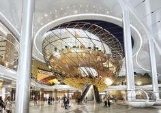 Dreamhub, Seoul - The Dreamhub retail scheme is part of 'Yongsan IBD' development in Seoul. Shopping Mall Interior, Retail Interior, Mall Design, Retail Design, Futuristic Architecture, Interior Architecture, Shoping Mall, Atrium Design, Retail Space
