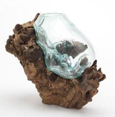 Hand Blown Molten Glass And Teak Wood Root Sculptured Terrarium / Vase /  Fish Bowl ( Part 71