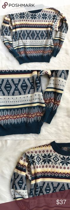 """Vintage Mens Ski Snowflake Fair Isle Sweater Vintage Mens Ski Snowflake Fair Isle Sweater. Holiday, Cosby, Crazy Sweater. 100% acrylic. Size medium. Unstretched measurements 42"""" bust. 31"""" waist. 23"""" long. 21"""" shoulder to shoulder. Mild piling. Good condition. Vintage Sweaters Cardigan"""