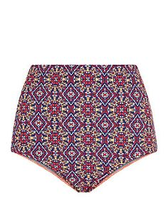 Multi Coloured Tile Print High Waisted Bikini Bottoms  | New Look