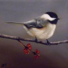 Original Painting CES Chickadee Autumn Bird Fall Flowers Nfac EBSQ Art Sale | eBay