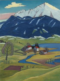 Gabriele Münter (German, 1877-1962), Landschaft mit Einoedhof [Landscape with farmhouse]. Oil on canvas, 88.3 x 65.4 cm.