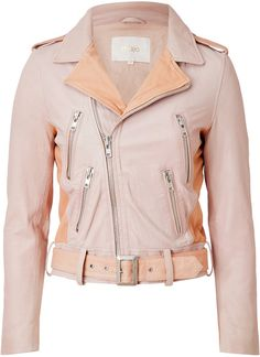 Leather Biker Jacket in Rose - Lyst