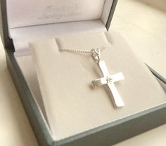 Sterling Silver Diamond Cross and chain - a beautiful and traditional silver Christening jewellery gift to