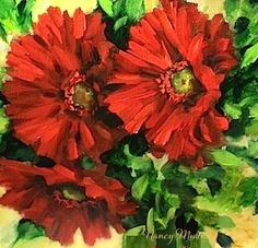 Ruby Red Gerbera Daisies and an Art Workshop in the Studio by Texas Artist Nancy Medina, painting by artist Nancy Medina