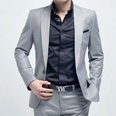 Ryan's suit - New Mens Fashion Stylish Slim Fit One Button Suit | with blue shirt