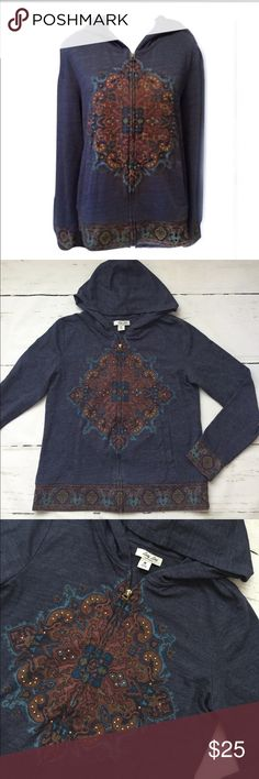 """Lucky Lutus Zip Up Mandala Hoodie Lucky Lotus, by Lucky Brand Mandala Blue Zip Up Sweatshirt. Pockets! Pretty Design and like new! Size: Medium  Measurements: B 19"""" L 24"""" Cotton, Polyester and Viscose Lucky Brand Tops Sweatshirts & Hoodies"""
