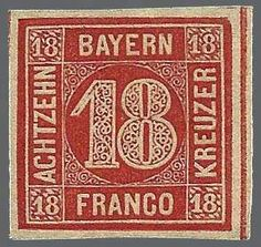 Old German States Bavaria 18 Kr. vermilion, with enormous margins unused extremely fine copy in nice, deeper colour, a rare stamp, signed Pfenninger, certificate Stegmüller  Dealer Rauhut & Kruschel Stamp auction  Auction Minimum Bid: 800.00 EUR