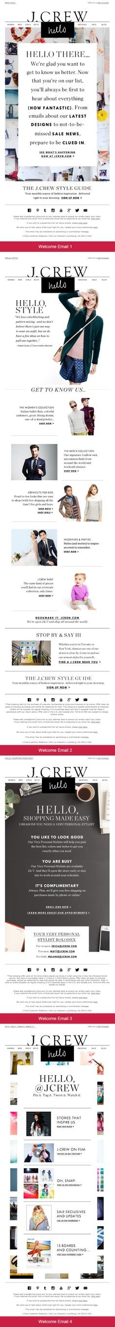 """""""Hello, J.Crew"""" Welcome program. This welcome series (consisting of of four email in total), arrives in your inbox every two days after initial sign-up. Each email is packed with useful information and a reinforces the same, consistent """"Hello"""" theme - yet each """"hello"""" message is uniquely creative to their product offering. This very cleverly continues that """"welcoming"""" feeling with some pretty brilliant marketing -- ultimately creating a most impressive welcome experience."""