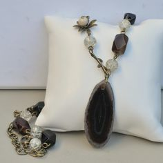 Coffee Brown Agate Pendant Necklace with Black Agate & Crackle Quartz Beads