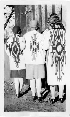 girls wearing Chimayo coats  native  chimayo, new mexico