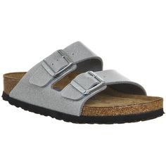 Birkenstock Arizona Two Strap ($93) ❤ liked on Polyvore featuring shoes, sandals, magic galaxy silver, women, synthetic shoes, birkenstock shoes, strap sandals, rubber sole shoes and cork shoes