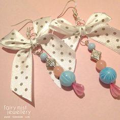 From the Bottom of My Heart Earrings. Polka dot white bow and heart pin earrings.  https://www.etsy.com/shop/fairymistjewellery