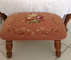 Items similar to Aqua and Rose Needlepoint Footstool on Etsy Rosy Pink, Wooden Leg, Romantic Homes, Vintage Roses, Holiday Gift Guide, Cottage Chic, French Country, Needlepoint, Ottoman