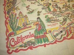 Vintage Souvenir Tablecloth California by unclebunkstrunk Vintage California, California Style, Map Globe, Red Green Yellow, Spanish Colonial, Store Displays, Cartoon Styles, Vignettes, Old Photos