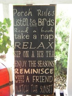 Vintage Style Porch Rules Typography Word Art Sign by Wildoaks, $25.00