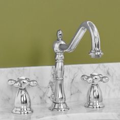 Victorian Gooseneck Lavatory Faucet with Metal Cross Handles- in ORB possible faucet for powder bath