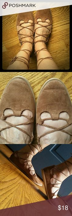 Lace up camel colored flats Worn twice! Can be tied in front or back (see pics). Some crease in toes from wearing which is normal. Price is firm thx! Qupid Shoes Flats & Loafers
