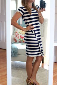Stitch Fix Review (#5) June 2016 - Loveappella Zola Asymmetrical Striped Dress Navy & White short sleeve