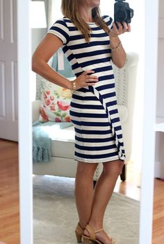 Stitch Fix Review (#5) June 2016 - Loveappella Zola Asymmetrical Striped Dress Navy & White short sleeve