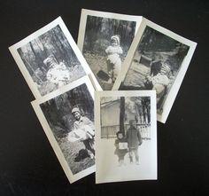 Vintage Balck and White Photos Children in the Winter Collection of 5 Paper Ephemera BNW AtomicPutz.com