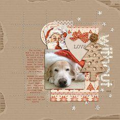 Scrapbook layout: Christmas dog, puppy layout.