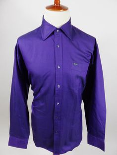 Faconnable France Long Sleeve Button Front Solid Purple Shirt Men XL #Faonnable #ButtonFront