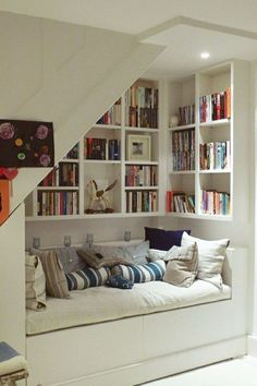 Kuschelecke children& room - create a personal corner for the child . - Kuschelecke children& room – create a personal corner for the child Kuschelecke chi - House Design, New Homes, House Interior, Home Library, House, Small Spaces, Home, Clever Storage Solutions, Home Decor