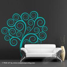 Swirly Tree Vinyl Wall Decal - Children Decor - Nursery Decor - Girls Room Decor - Modern Wall Art - 65x70