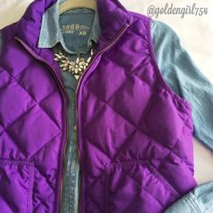 J Crew Puffer Vest Popular excursion vest in a pretty bright purple shade. Has double zipper and side pockets.   ~CONDITION: Very Good   No Trades ✅ Use Offer Button J. Crew Jackets & Coats Vests