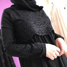 В черном)) платье из нашей серии абайных платьев с красивыми гепюрами В черном цвете в то же время и нарядно и можно взять на каждый день. Цена 5500₽ Burqa Designs, Abaya Designs, Moslem Fashion, Niqab Fashion, Muslimah Wedding Dress, Maxi Dress Wedding, Hijab Dress, Hijab Outfit, New Abaya Design
