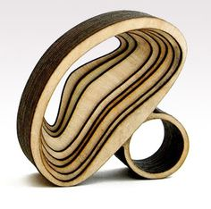 Anthony Roussel's (Arch Ring) jewellery for International Jewellery London are made from woods, including maple, ash, birch etc.