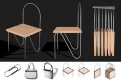 Super portable chair with paper clip lightness can be hung on the wall