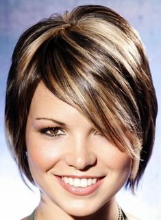 Short Hair with Blonde Highlights | ... girl-169,long bangs to the side, blonde highlights on black hair short