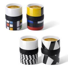 Frank Kerdil - Mondriaan espresso cups
