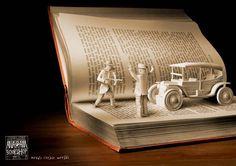 the story of crime - paper book art. Book Art, Up Book, Book Pages, Paper Book, Paper Art, Grand Art, Cool Books, Book Folding, Art Plastique