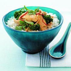 Satay Chicken Stir-Fry with Snow Peas and Cilantro   MyRecipes.com