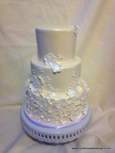 White on White Wedding Cake - Kyrsten's Sweet Designs | Specialty Cakes and Cookie Favors