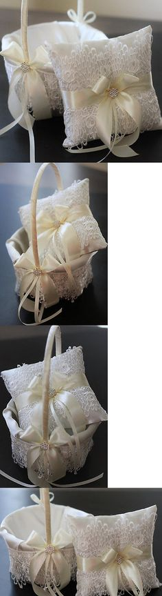 Ring Pillows and Flower Baskets 177762: Ivory Lace Wedding Basket And Pillow Set Flower Girl Basket Ring Pillow Bearer -> BUY IT NOW ONLY: $59 on eBay!