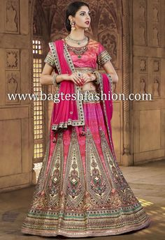 Shaded Pink Silk Lehenga Choli